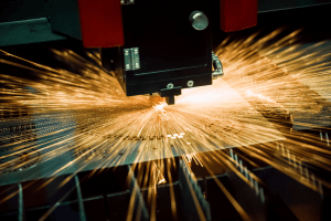 Image of high speed laser cutting sheet metal